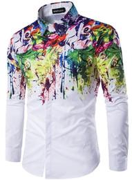 Wholesale Men Pattern Flower Shirt - Flower Printed Men Dress Shirt Splashed Paint Pattern Printed 3D Shirt Slim Fit Male Long Sleeve Shirts chemise homme Plus Size