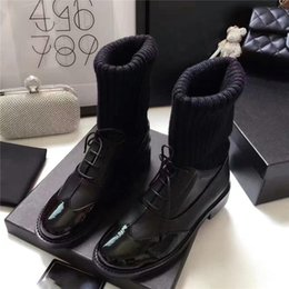 Wholesale Ankle Boots For Women - Women Boots Genuine Leather Chunky Casual Shoes Chain Pumps Slip on Leather Luxurious Brand Thigh Boosts for Casual Boots Ankle Boots