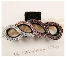 Wholesale Acrylic Hair Claw Clip - Wholesale Hair claw Korean clips fully-jewelled high quality Crystal Rhinestone Diamond-mounted hair clips for thick hair cup free shipping