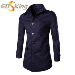 Wholesale Mens Slim Fit Down Coat - Wholesale- New Arrival 2016 Men Trench Coat Turn-down Collar Single Breasted Fashion Casual Slim Fit Outerwear Mens Trench Coats 5 Color
