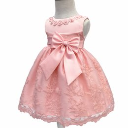 Wholesale Baptism Gowns Wholesale - Toddler Party Girls Christening Dresses Children Sleeveless Baptism Ball Gown with Big Bow Baby Kids Newborn Dresses Vestido