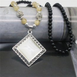 Wholesale Rhombus Beads - Fashion Women Long Necklace Opal Rhombus Pendant Alloy Necklaces Silver Plated Beads Chain For Women Gift