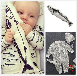 Wholesale Boys Baby Doll Clothing - Wholesale- 3pcs Baby Boy Girl Infant Fish Printed Long Sleeve Zipper Rompers Jumpsuit+Hat+Fish Doll Outfits Clothes