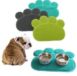Wholesale Dog Sleeping - Footprint Foot Sleeping Pad Placemat Cat Litter Mat Dog Puppy Cleaning Feeding Dish Bowl Table Mats PVC Paw Shape Style Carpet 30*40cm F550
