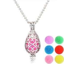 Wholesale Wholesale Imitation Perfumes - Locket Necklace Open Aromatherapy Locket Essential Oil Diffuser Perfume Aromatherapy Teardrop Shape Hollow Carving Locket Necklace for Women