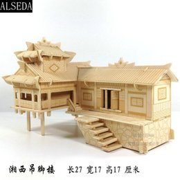 Wholesale 3d Puzzles Chinese House - wooden 3D building model toy gift puzzle hand work assemble game Chinese woodcraft construction kit xiangxi house on stilts set