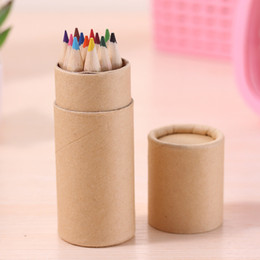 Wholesale Wholesale Wood Art - 20set lot 10*3.5cm colored Lead Color drawing pencil wood Colour Pencil Sets of 12 colour kids colored drawing pencils children gift