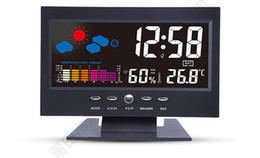 Wholesale Style Table Clock - Acoustic Control Sensing Backlight Alarm Digital Table Clock Color Weather Meter in Black Thermometers Hygrometers Free Shipment