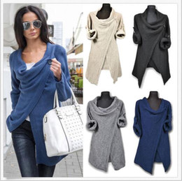 Wholesale Yellow Cardigan Sweater Women - Sweater Coat Knitted Fashion Jackets Women Knit Irregular Cardigans Casual Autumn Outwear Female Tops Blouse Pullover Jumper Poncho B3265