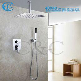 Wholesale Embedded Shower Head - Fashion Style Bathroom Rain Shower Set 16 Inch Ceil Mounted Rain Shower Heads With Easy-Installation Embedded Box Shower Valve 002V-16T-3K