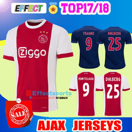 Wholesale Uniform Yellow - New Ajax Home Soccer Jerseys 2018 Ajax FC Red Away Blue 2017 Camisa KLAASSEN FISCHEA DOLBERG 17 18 Football Shirts Customized uniform