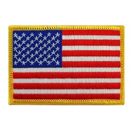 Wholesale Wholesale Hats Usa - American Flag Patches Military Uniform Gold Border USA Can Ironing Applique Jeans Fabric Sticker Patches for Hat Decoration