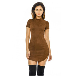 Wholesale Ladies Tight Dresses - Wholesale- 2017 Summer Short Sleeve Slim Party Mini Dress Casual Ladies Vestido Vintage Women Brown Tight Faux Suede Bodycon Dresses