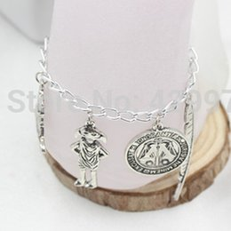 Wholesale Harry Bracelet - Wholesale-Free Shipping Harry Jewellery Silver Plated Charm Bead Bracelet with 4x Potter Charms Available in 4 Sizes For Christmas Gifts