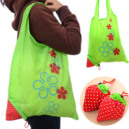 Wholesale Eco Folding Bag - Nylon Portable Creative Strawberry Foldable bag gift shopping Reusable Environmental Protection Pouch Eco-Friendly Shopping Bags wholesale