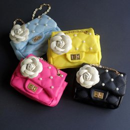 Wholesale Pu Messenger Bag Camellia - Fashion Kids Bags Girls Princess Bags Classic Camellia Pearls Chain Bags Baby Belt Coin Purse free shipping