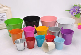 Wholesale Small Tin Cans - Wedding Party Potted Plants Mini Small Assorted Colored Tin Pails Buckets Can Choose Color