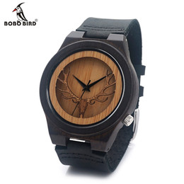 Wholesale Glasses Head Band - Wholesale- BOBO BIRD Deear Head Quartz Wooden Watches Antique Watch With Genuine Cowhide Leather Band Casual Watches relogio masculino
