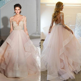 Wholesale Layered Lace Wedding Dress - Hayley Paige 2017 Spring Ball Gown Blush Wedding Dresses With Long sleeves Sheer Lace Appliques Bridal Gowns Layered Tulle vestido de noiva
