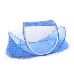 Wholesale Travelling Baby Beds - Wholesale-Hot Sale Cute Baby Crib Portable Type Comfortable Babies Pad with Sealed Mosquito Net Travel Baby Mosquito Net Baby Bedding