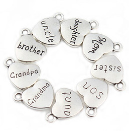 Wholesale Word Beads Wholesale - 100pcs lot Mixed Antique Silver letter Love Heart Beads Metal Charms Words Handmade Floating Charm Pendant for Jewelry Making 15mm