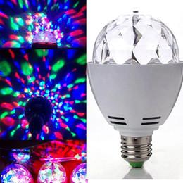 Wholesale E27 3w Colorful Rotating - Edison2011 New 3W E27 B22 RGB Lighting Full Color LED Crystal Stage Light Auto Rotating Stage Effect DJ Lamp Mini Stage Light Bulb