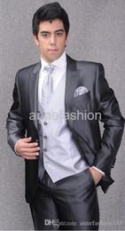 Wholesale Men S Silk Skinny Ties - Bridegroom wedding Suit bright silk grey tuxedos men suit(Jacket +pants+vest+tie)
