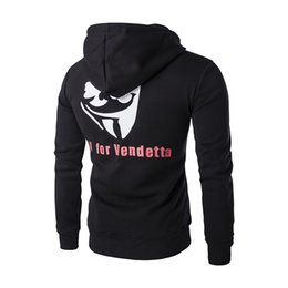 Wholesale Good Quality Hoodies For Men - Wholesale-V for Vendetta Hoodies New Good Quality Sweatshirt Men Printed Velvet Hoodies Men Brand Designer Mens Hoodie Sweatshirt W112