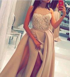 Wholesale elegant sweetheart sequin prom dress - Elegant Custom Made Sweetheart Long Evening Dresses 2017 Side Split Lace Saudi Arabia Cheap Prom Dresses Formal dress