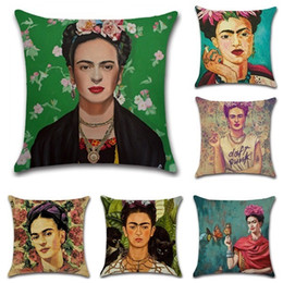 Wholesale Black Pillow Covers - Frida Kahlo Self-portrait Printed Pillow Case Cover Cotton Linen Home Decorative Sofa Throw Cushion Covers Seat Waist Pillowcases 45x45cm