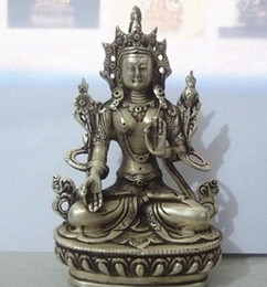 Wholesale Black Glossy Bags - Tibet Buddhist Silver White Tara Buddha Statue