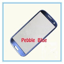 Wholesale S3 Touch Screen Replacement - High Quality New Pebble Blue Front Outer Touch Screen Glass Lens Replacement for Samsung Galaxy S3 i9300 GT-i9300 Free Shipping via DHL