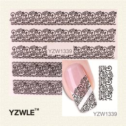Wholesale Water Decal Lace - Wholesale-YZWLE 1 Sheet Black Lace Flowers Watermark Nail Sticker, Water Transfer Nail Decals For UV Gel Polish Nail Decoration Tools
