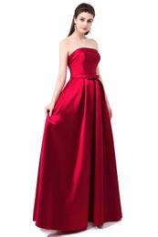 Wholesale Strapless Slim Ball Gown - 2017 Vestido De Festa Formatura Bridal Strapless Sleeveless Wine Red Danni Slim Long Prom Fress Custom Party Formal Evening Gown 506