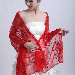 Wholesale Hot Summer Jewelry - Hot Cheap 2017 New Factory direct red lace shawl wedding dress shawl summer sequined shawl Best bridal jewelry Wrap