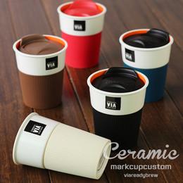 Wholesale Ceramic Coffee Mugs Spoons - 350ml Ceramic Cup Coffee Mug With Lid Spoon Milk Creative Couple Cups Xicara Caneca