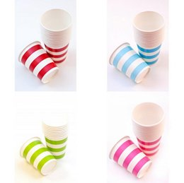Wholesale Wedding Candy Cup - Wholesale- new arrival colorful stripes Candy Party Cups Paper Tableware Wedding Birthday Decoration Event Party Supplies CP093