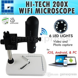Wholesale Wifi Microscope - M05-001 Digital WIFI USB Microscope 200x Zoom IOS Android PC Video Photo 6 LED Rechargeable Li-ion Battery