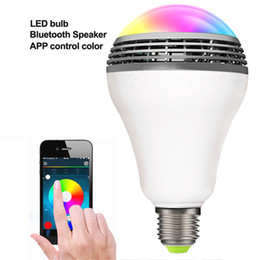 Wholesale Party Mp3 - Remote Control Bluetooth Smart LED Light Bulb Lamp with Speaker Music Player for Home and Night Party - standard socket E27