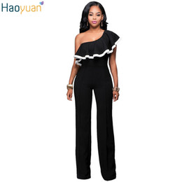 d3b256eb91de Wholesale- HAOYUAN Fashion Sexy Rompers Womens Elegante Jumpsuit Black Off  The Shoulder One Piece Bodysuits Summer Slim Casual Overalls