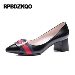 Wholesale Beige Colored Shoes - Brand Designer Shoes Women Runway Size 4 34 Black Block Medium Multi Colored Pumps High Quality Pointed Toe Heels 2017 Formal 33