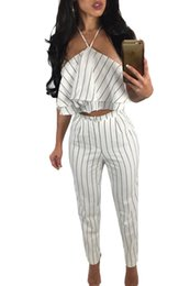 Wholesale Striped Top Cropped - Women Pant Suits 2 Piece Summer Style 2017 Hollow Out Split White Striped Ruffle Halter Crop Top and Pant Set