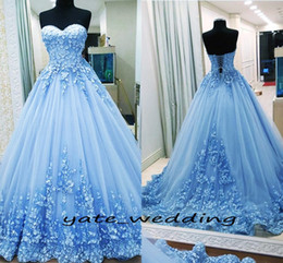 Wholesale Blue Bandage - 2018 Ball Gown Prom Dresses Sweetheart Appliques Tulle Backless Bandage Light Blue Evening Gowns Quinceanera Dresses Sweet 16 Dresses