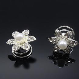 Wholesale Swirl Wedding Hairpins - 10pcs Pear Crystal Flower Twist Coils Hairpin Spiral Swirl Wedding Prom Hair Clip Hair Jewelry