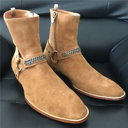 Wholesale Brown Suede Wedge - exclusive customize high top slp chain ankle strap suede Chelsea men Boot High Top handmade Boots