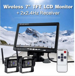 "Wholesale Wireless Camera Night - New 7"" car Monitor+2 X Wireless Rear View Backup Camera Night Vision For RV Truck Bus"