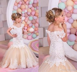 Wholesale Toddler Off White Lace Dress - Princess Champagne Lace Flower Girls Dresses Mermaid Off Shoulder Ruffles Puffy Tulle Capped Sleeves First Communion Pageant Gowns for Kids