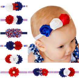 Wholesale Shabby Hair Flowers - 2017 4th of July Independence Day Headband Shabby Flower American Flag Hair Bands Kids Chiffon Frilly USA National Flag Hair Accessories