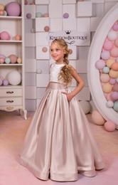 Wholesale custom printed satin ribbon - 2018 Champagne Two Pieces Flower Girl Dresses Satin A Line Floor Length Little Girls Pageant Gown vestidos de comunion