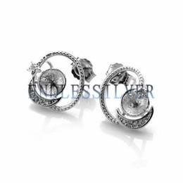 Canada Réglages de boucles d'oreilles Star and Moon Design en argent Sterling 925 Montures bricolage Accessoires pour bijoux pour Pearl Party Offre